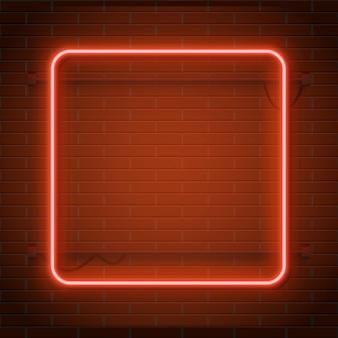 Рамка прямоугольника казино неоновой лампы на стене кирпичной стены. концепция.