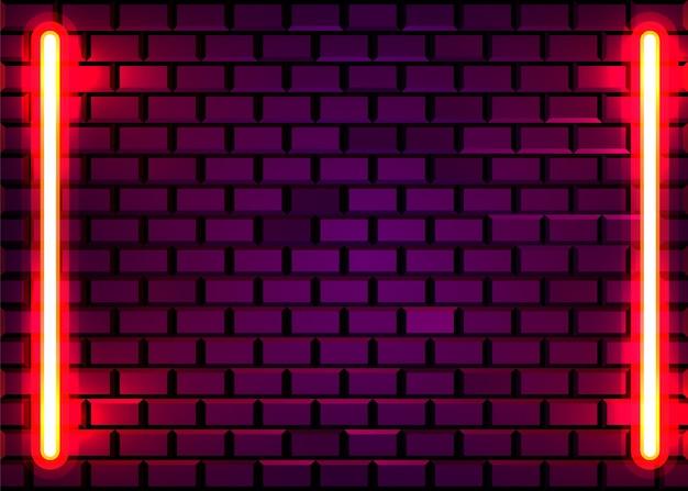 レンガの壁の背景にネオンランプフレーム。ラスベガスのコンセプト。