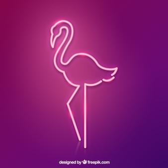 Неоновая лампа с фламинго