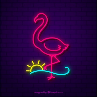 Neon lamp with flamingo shape