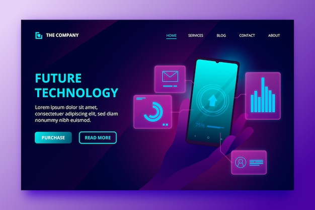 Neon landing page template with smartphone