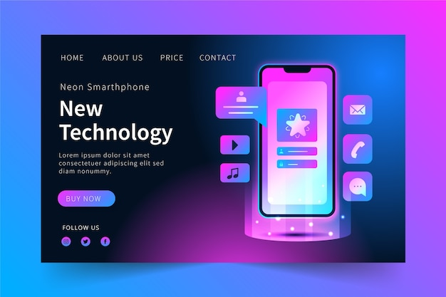Neon landing page with mobile concept