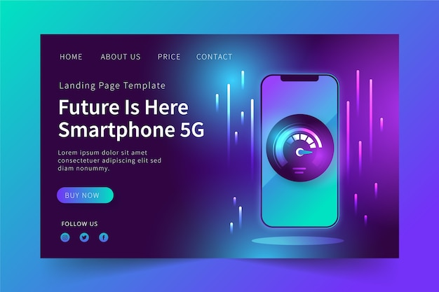 Neon landing page with mobile design