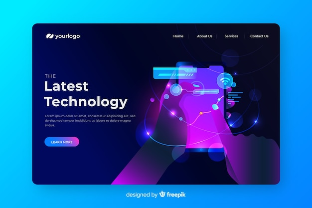 Neon landing page with smartphone concept