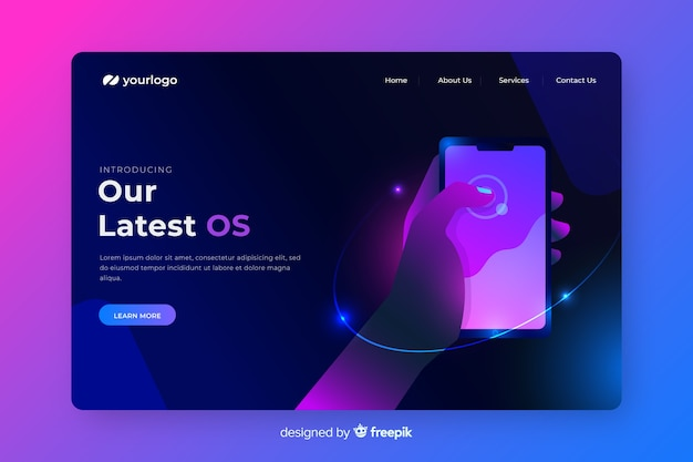 Neon landing page with smartphone template