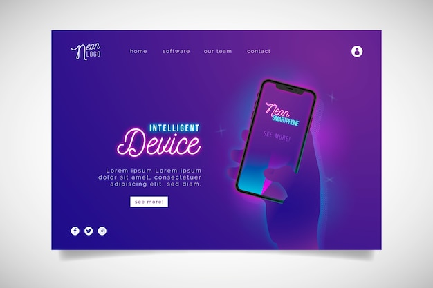 Pagina di destinazione al neon con smartphone