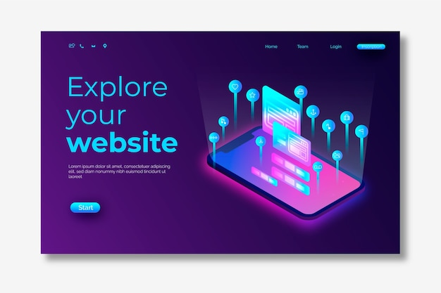 Neon landing page with smartphone