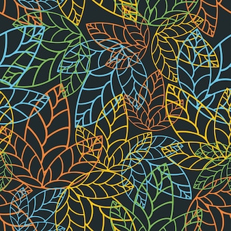 Neon Leaf with seamless pattern design