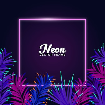 Neon leaves frame background
