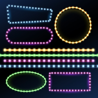Neon and led strips and diode light border frames set.