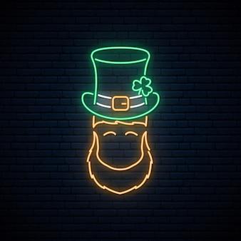 Неоновый лепрекон в зеленой шляпе патрика