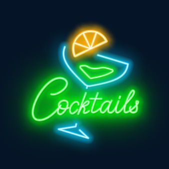 Neon lettering cocktails and sign on black background.
