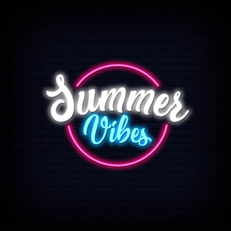 Neon lettering of summer vibes. glowing neon sign signboard effect