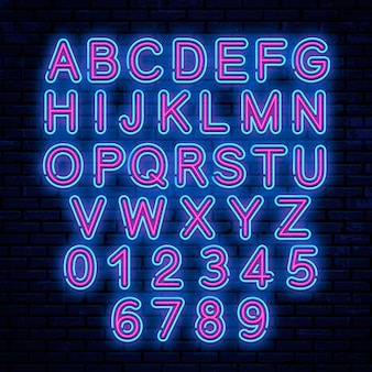 Neon letters, blue and red.  illustration