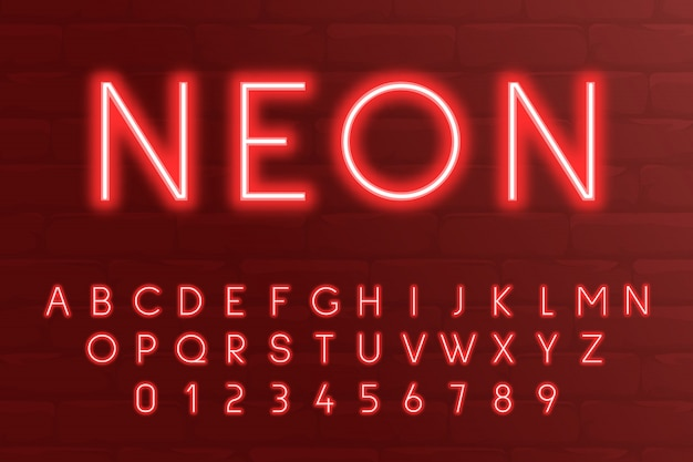 Neon light 3d alphabet, 3d letters and numbers red colours