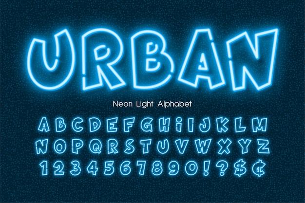 Neon light 3d alphabet, extra glowing comic style type.