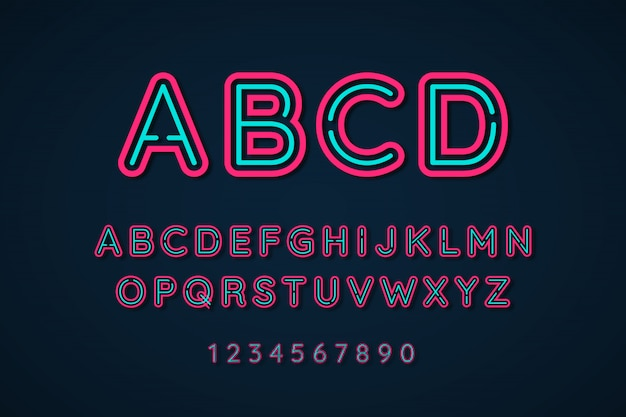Neon light 3d alphabet extra glowing font effect
