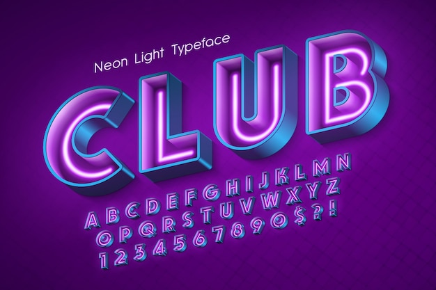 Neon light 3d alphabet, extra glowing font.