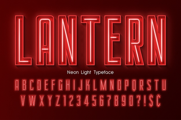 Neon light 3d alphabet, extra glowing font