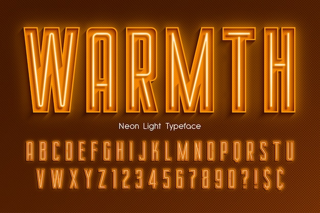 Neon light 3d alphabet, extra glowing font