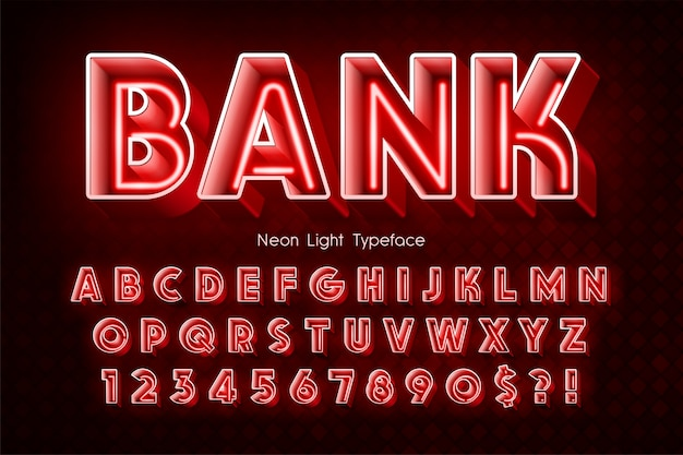 Неоновый свет 3d алфавит, дополнительный светящийся шрифт