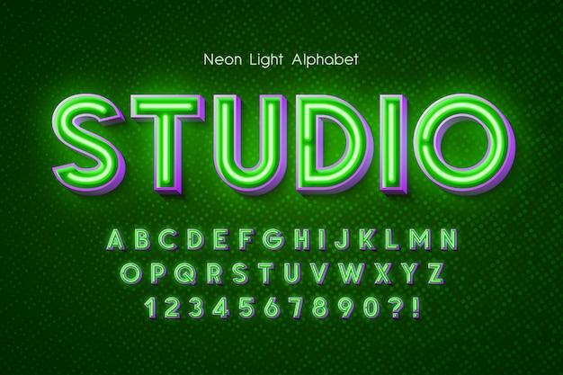 네온 빛 3d 알파벳, 여분의 빛나는 글꼴.