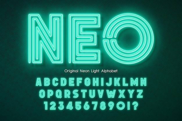 Neon light 3d alphabet extra glowing modern type swatch color control