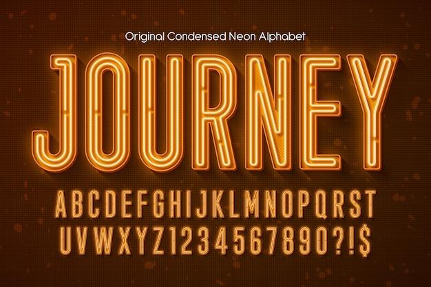 Неоновый свет 3d алфавит, дополнительный светящийся современный шрифт. образец управления цветом.