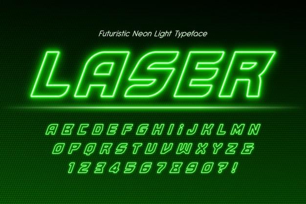Neon light 3d alphabet, extra glowing modern type.