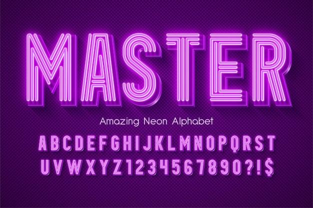 Neon light 3d alphabet, extra glowing modern type. Premium Vector