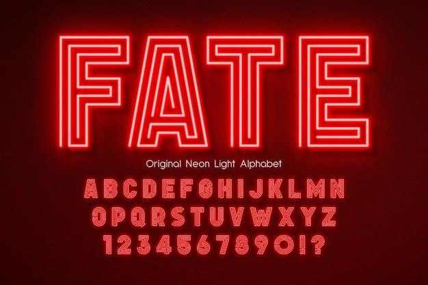 네온 빛 3d 알파벳, 여분의 빛나는 현대 유형.