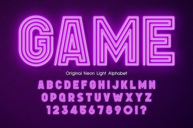 Neon light 3d alphabet, extra glowing modern type