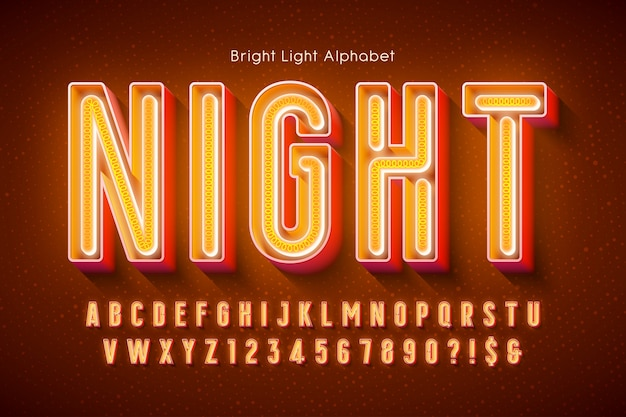 Neon light 3d alphabet, extra glowing modern type.