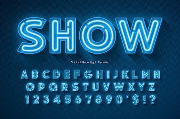 Неоновый свет 3d алфавит, дополнительный светящийся оригинальный шрифт. контроль цвета образца