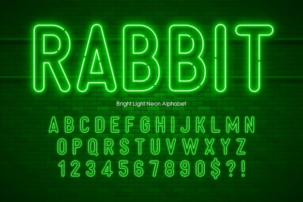 Neon light 3d alphabet, extra glowing origainal type. swatch color control.