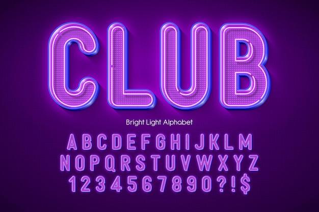 Neon light 3d alphabet, extra glowing origainal type.