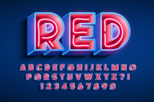 Neon light 3d alphabet, extra glowing original font.