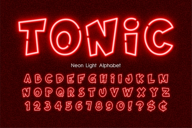 Neon light alphabet, extra glowing comic style type.