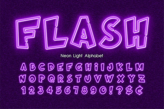 Neon light  alphabet, extra glowing comic style type.