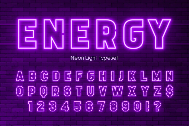 Neon light alphabet, extra glowing font design.