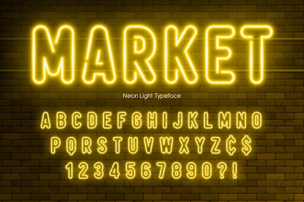 Neon light alphabet, extra glowing font design