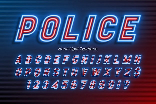 Neon light alphabet, extra glowing font, type.
