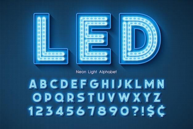ネオンライトアルファベット、余分に輝くフォント。