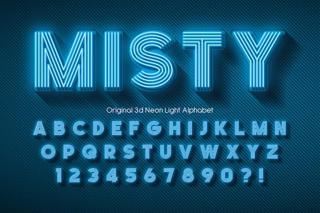 Neon light alphabet, extra glowing font.