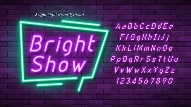 Неоновый свет алфавит, дополнительный светящийся шрифт.