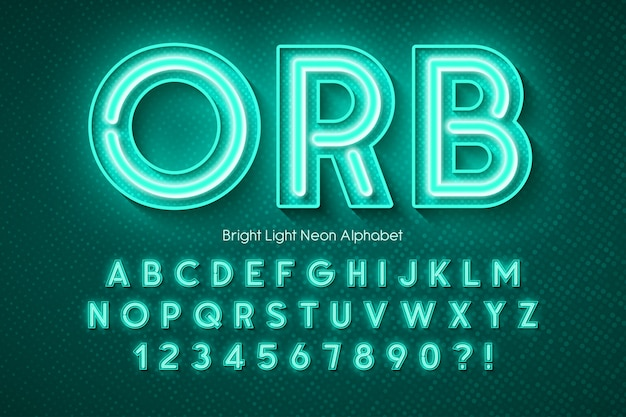 Neon light alphabet, extra glowing font.