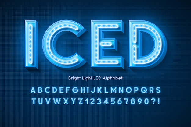 Neon light  alphabet, extra glowing modern font.