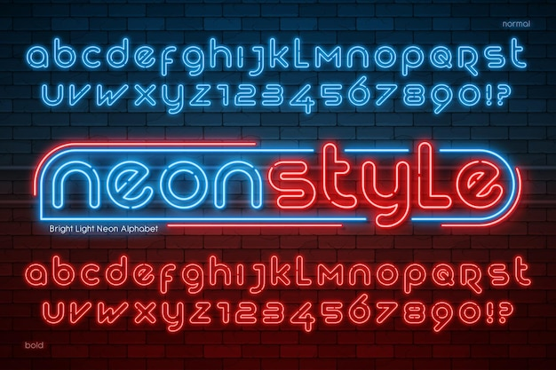 Neon light alphabet, extra glowing modern type. swatch color control.