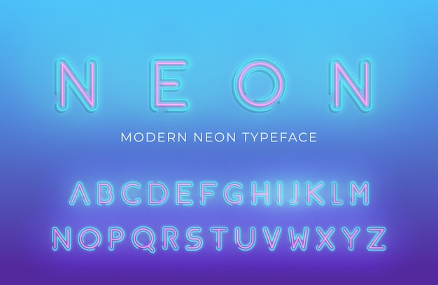Neon light alphabet font. glowing neon colored 3d modern alphabet typeface