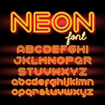 ネオンライトアルファベットフォント。暗い背景にネオン管の文字。